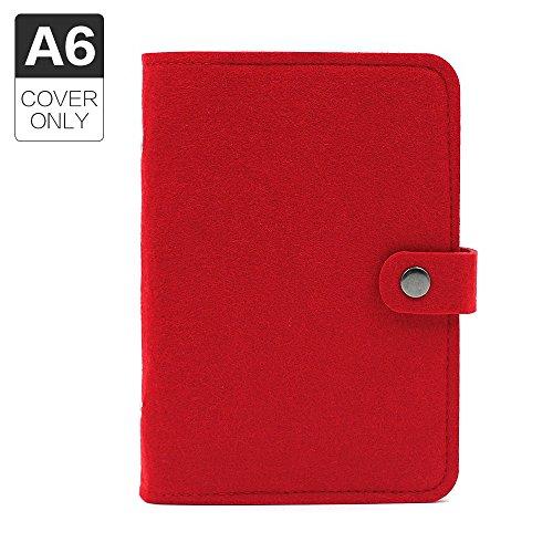 Copertina per diario-agenda formato A5con 6 anelli, in feltro, a schede mobili, pagine non incluse A6 Red