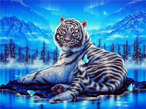 5D DIY Diamond Painting Animal Tiger Landscape Cross Stitch Full Drill Diamond Embroidery Mosaic Art Picture Home Decor A1 50x70cm
