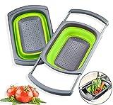Colador grande de silicona para fregadero plegable colador grande extensible sobre el fregadero colador cesta de lavado ahorro de espacio tamiz de cocina equipo de camping (verde)