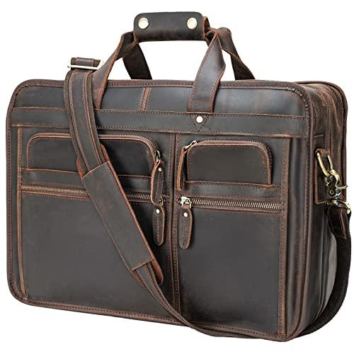 Polare 17'' Full Grain Leather Briefcase Laptop Attache Case Messenger Bag For Men Fits 15.6'' Laptop