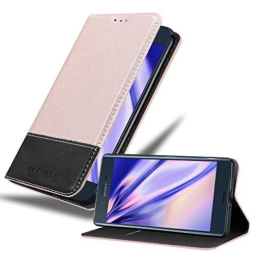 Cadorabo Hülle für Sony Xperia XZ/XZs in ROSÉ Gold SCHWARZ – Handyhülle mit Magnetverschluss, Standfunktion & Kartenfach – Hülle Cover Schutzhülle Etui Tasche Book Klapp Style