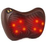 Elektrischer Massagekissen, Shiatsu-Massagegerät mit 8 Köpfe, 3 Geschwindigkeiten, 15 Minuten Automatische Abschaltung, Bidirektionales Knetendes, für Nacken, Schulter, Rücken, Taille, Beine