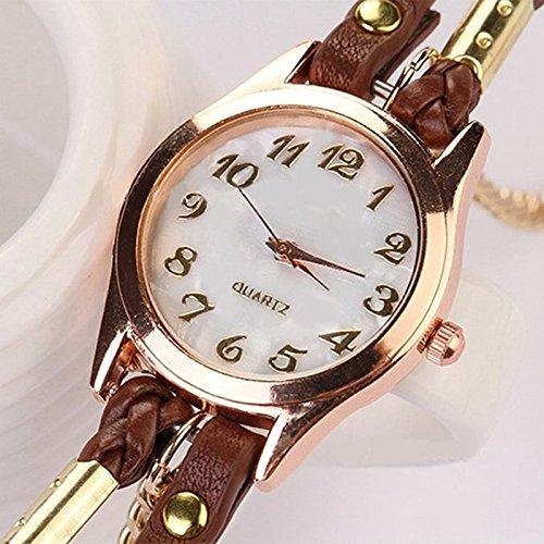 Sharplace Reloj De Pulsera De Pulsera De Cadena De Cuero De Mujer Vintage Weave Wrap Wrap - marrón