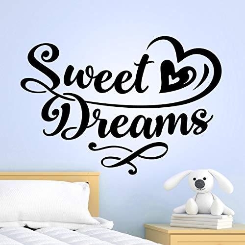 Sweet Dreams - Adesivo da parete per camera da letto con citazioni in vinile, decalcomania per la casa e la stanza dei bambini, decorazione per la cucina rimovibile, design con scritta