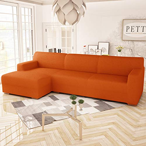 PETTI Artigiani Italiani Funda Chaise Longue, Funda Sofa Chaise Longue, Funda Elástica , 100% Made in Italy, Naranja, 3 Plazas (250cm) Chaise Derecho