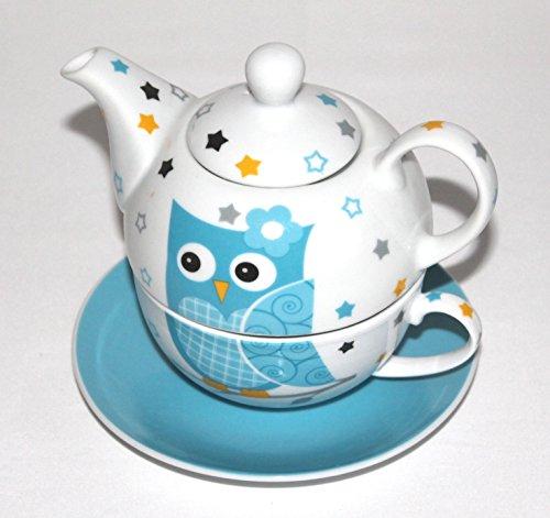 Tea for one Set thé 3 pièces en porcelaine avec théière + tasse + soucoupe 14 cm bleu