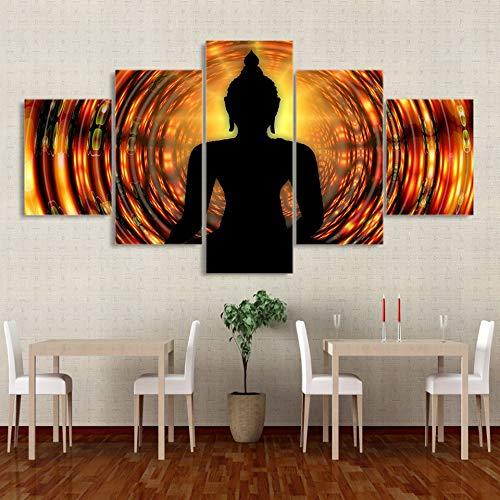 Zaosan Leinwandbild Gemälderahmen 5 Stück Buddha Backlit Zen Yoga Wandbild Poster