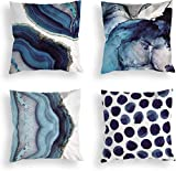 Blue Throw Pillow Covers Set of 4,18 x 18 Inch Navy Blue Marble Dots Sea Texture Cotton Linen Cushion Home Decorative Pillow Case for Sofa Car Bedroom