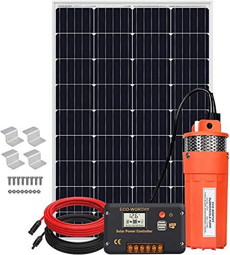 DCHOUSE Sumergible De Bomba Kit De Pozo Profundo De 120 W, Solar Bomba De Agua De Bajo Ruido De Flujo Grande De 12 V Cc Con Kit De Panel Solar De 120 W Para Riego, Pozo Profundo, ReproduccióN