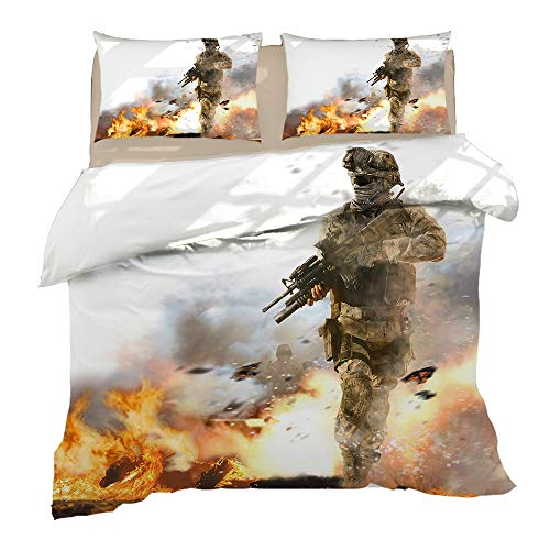 KYNWCLRW Super King Bedding Set, 3D Digital Print Call Of Duty Bedding Sets, Upgrade Polyester-Cotton Fade Stain Resistantquilt Cover Sets, For Adults (240X260Cm)