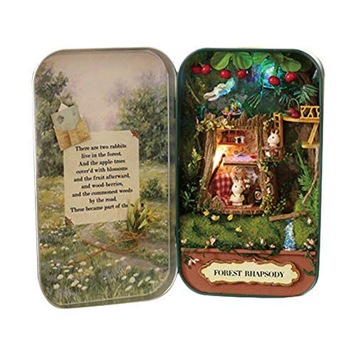 DIY Puppenhaus, MOPOIN DIY Miniatur Puppenhaus Bausatz 3D Puzzles DreamHouse Handgemachte Miniatur DIY Kit Mini Welt in Box mit LED für Valentinstag, Kindertag, Weihnachten, Geburtstag(Wald Rhapsodie)