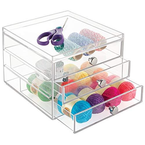 "iDesign 3 Plastic Vanity, Compact Slim Storage Organization Drawers Set for Cosmetics, Dental Supplies, Hair Care, Bathroom, Dorm, Desk, Countertop, Office, 6.5"" x 7"" x 5"""