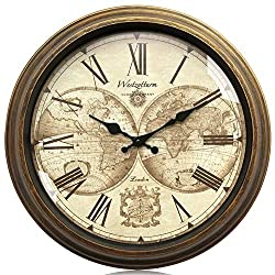 Westzytturm Wall Clocks for Living Room Decorative, 16 inch Rustic Farmhouse Vintage Style, Battery Operated Non-Ticking Silent, Roman Numeral Big Face, Gold