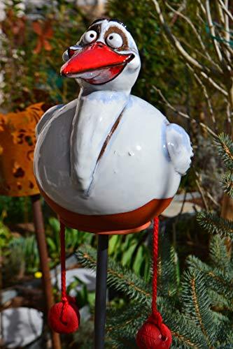 Maison en France Gartenstecker Storch auf Stab- Gesamthöhe 110 cm- edle Gartenkeramik