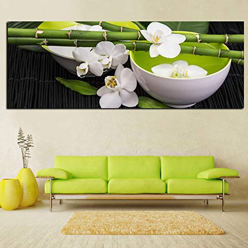 sanzangtang Rahmenlose Malerei Digital HD Stillleben Bambus Weiß Orchidee Feng Shui Landschaft Ölgemälde Leinwand Poster Wohnzimmer DekorationCGQ4718 31X94cm