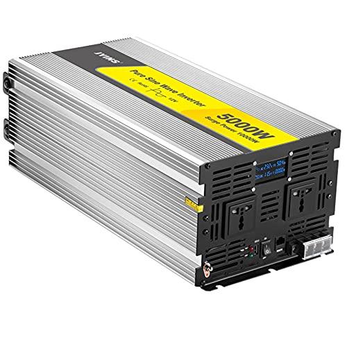 WOCTP Inversor de Onda sinusoidal Puro 5000W, convertidor de Voltaje DC 12V / 24V a AC 220V, inversor de energía Solar con Pantalla LCD y Puertos USB para camión de carava DC12v-AC220v