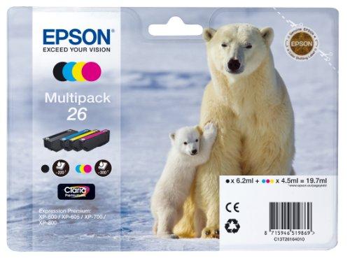 Epson 26 Original Tinte Eisbär (XP-600 XP-700 XP-800 XP-510 XP-710 XP-615 XP-610 XP-810 XP-720 XP-820 XP-520 XP-620 XP-625) Multipack 4-farbig