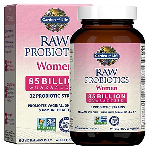 Garden of Life Raw Probiotics for Women - 85 Billion CFU Vaginal Probiotics with Vitamins, Minerals, Fruits, Veggies & Enzymes - 90 Capsules, Womens Probiotic Supplement for Digestive & Immune Health