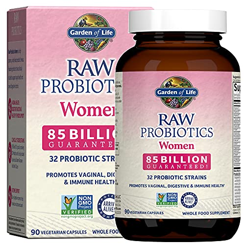 Garden of Life Raw Probiotics for Women - 85 Billion CFU Probiotic for Vaginal Probiotics with Vitamins, Minerals, Enzymes - 90 Capsules, Womens Probiotic Supplement for Digestive and Immune Health