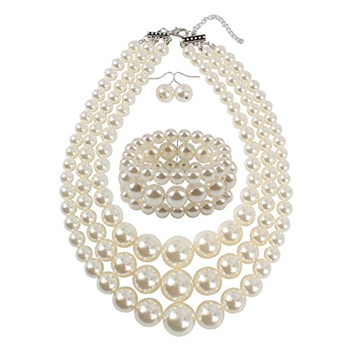 Pearl Necklace and Earrings Jewelry Set