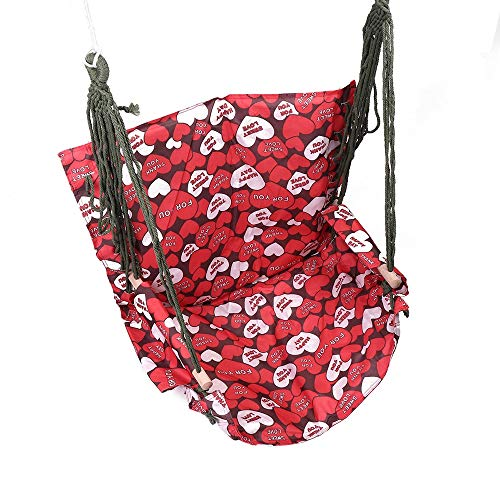 Hammock Chair Portable Hammock Hanging Rope Swing Seat Garden Tree Porch Hammock Chair Garden Hammock Chair (Color : Red, Size : 110x65cm)