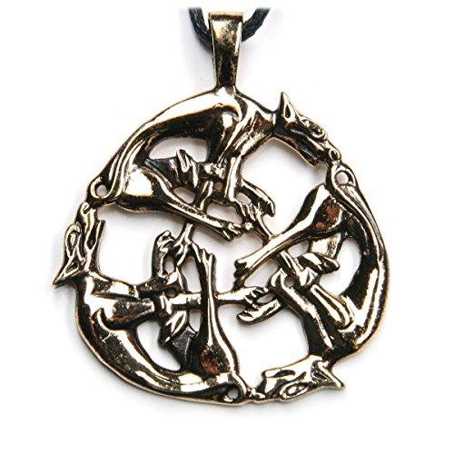Drachensilber Keltischer Schmuck Kette Die Hatz Anhänger aus Bronze inkl. Band Hunde Kettenanhänger Wilde Jagd