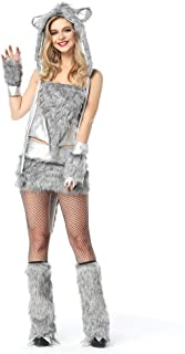 Ytwysj Women's Sexy Grey Cozy Timber Wolf Adult Party Fancy Halloween Cosplay Costume Dress with Faux Fur Cap