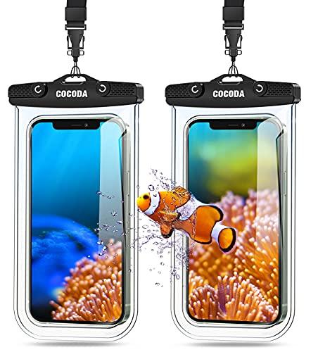 Cocoda Pochette Étanche Smartphone [Lot de 2], IPX8 Housse Téléphone Étanche Compatible avec iPhone 12/12 Pro Max/11 Pro Max/XR, Galaxy S21 Ultra/S20, Jusqu'à 7.0 Pouces pour Plage, Voyage, Piscine
