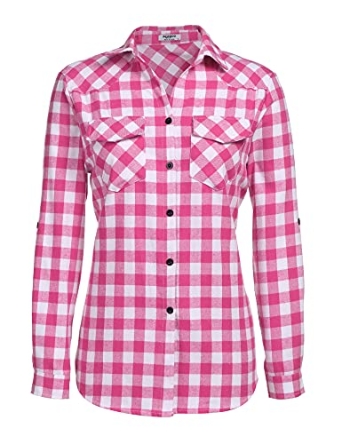 Zeagoo Womens Pink Plaid Shirt, Roll up Sleeve Casual Boyfriend Button Down Flannel Shirts,Rose,Medium