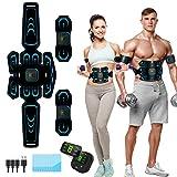 Elettrostimolatore per Addominali,Elettrostimolatore Muscolare,EMS Stimolatore,USB Addominale Tonificante Cintura, LCD Display,Addome/Braccio/Gamba per Uomo o Donna 10 modalità 20 intensità