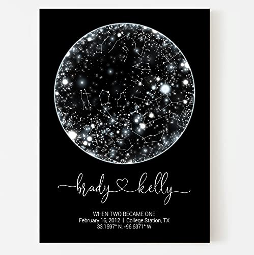 Custom Constellation Map Print or Framed, Wedding Anniversary Gift for Husband Personalized Star Map by date, Night Sky poster, Valentines Day Gifts