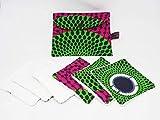 Lingettes Lavables Demaquillantes Zéro Déchet Cadeau en Wax Rose Vert Lot de 6 et Pochette de Rangement 6KREATION