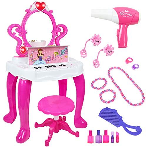 Kiddie Play Juego de mesa y silla para niños con piano y accesorios de maquillaje de moda para niñas, color rosa