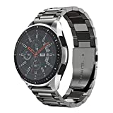 NotoCity 20mm Stainless Steel Metal Watch Band Compatible with Samsung Gear S2/Galaxy Watch (42mm)/Gear Sport /Garmin Vivoactive 3/Vivomove HR Watch--black