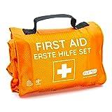 Kit di pronto soccorso outdoor, per escursioni, sci, arrampicata, pratico formato rotolo, si adatta a qualsiasi zaino, idrorepellente (59 pezzi, arancione)