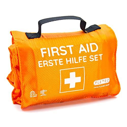 Erste Hilfe Set Outdoor, zum Wandern, Skifahren, Klettern, praktisches Rollenformat, passt in jeden Rucksack, wasserabweisend (59-teilig, orange)