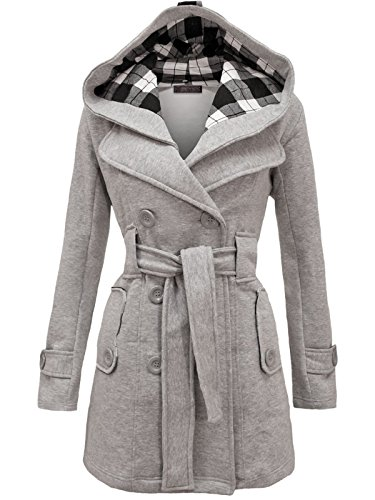 Envy Boutique Women's Military Button Hooded Fleece Belted Jacket Light Grey 14