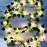 Vine String Lights, [1 Pack] Ivy Decor String Lights, Maple Leaf Garland Wreath Hanging lamp with 20 LED, Fairy Night Lights for Home, Room, Bedroom, Wall Decoration (6.5 FT, Battery Powered)