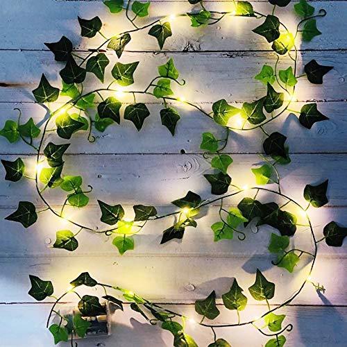 DYBOHF 1 Pezzi Edera Finta per Balconi, 2M Artificiale Pianta con 20 Luci LED, Foglia Verde Ghirlanda Luminosa per Giardino, Patio, Balcone, Finestra, Parete Decorazione