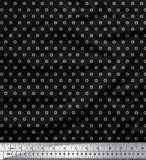 Soimoi Schwarz japanischer Kreppsatin Stoff Dot & Heart