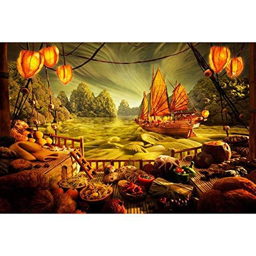 DX Barca a Vela vegetale Sea View Art Puzzle Puzzle in Legno 500/1000/1500/2000/3000/4000/5000/6000 Pz Decorazione per la casa, Giochi educativi per Adulti e Bambini