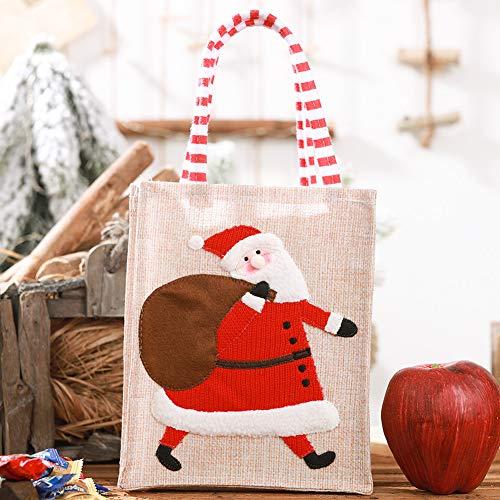 Leoie 1 Stks Kerst Linnen Doek Stereoscopische Geborduurde Handtas Gift Bag Snoep Tas Ontvangstzak