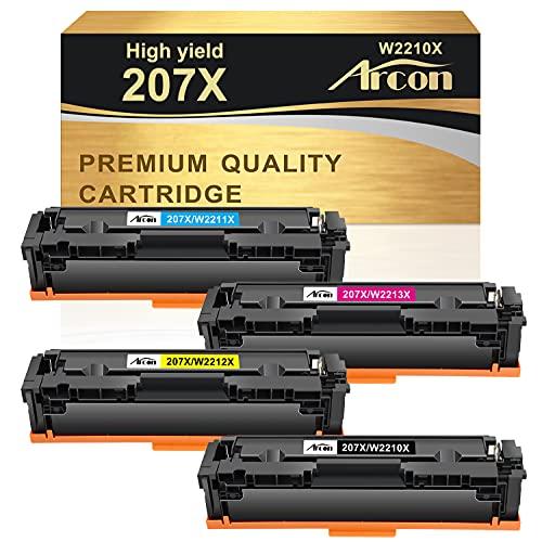 Arcon 207X Kompatibel Tonerkartusche als Ersatz für HP 207X 207A 207 HP Color Laserjet Pro MFP M283fdw M255dw M282nw M283fdn M255nw Toner W2210X W2211X W2212X W2213X W2210A - Schwarz Cyan Gelb Magenta