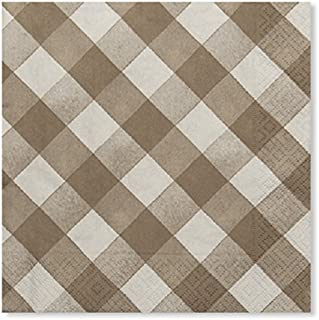 Sophistiplate Disposable Taupe Beige Gingham Paper 3-ply Napkins (Pack of 60) for Birthdays, Holidays, Parties, Showers, Picnics & Special Events and Entertaining