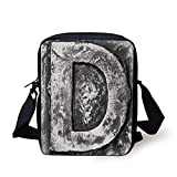 Letter D,Alphabet D Letter Reference to Someones Name Symbolic Character Education Art Decorative,Black Grey Print Kids Crossbody Messenger Bag Purse
