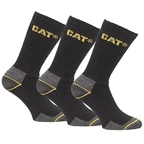 CAT Caterpillar Arbeitskleidung Schwarz Und Grau Mannschafts Socken Packung 3 Paar - Schuhe Größe 39 - 11