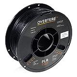 OVERTURE PLA Filament 1.75mm 3D Printer Consumables, 1kg Spool (2.2lbs), Dimensional Accuracy +/- 0.05 mm, Fit Most FDM Printer(Black 1-Pack)