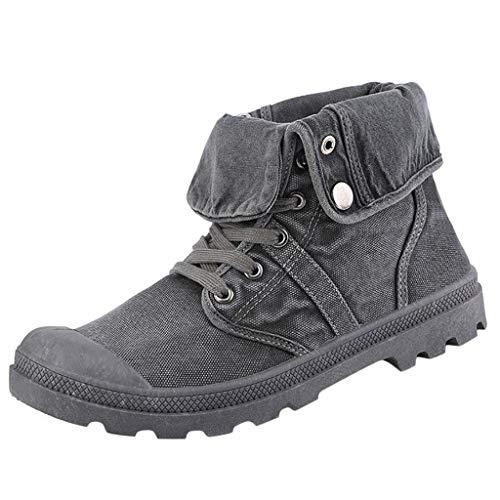 YWLINK Botas Altas De Los Hombres Zapatos De Lona Botas Inferiores Gruesas Botines Al Aire Libre Zapatos De PuñO TamañO Grande Transpirable Moda Casual Zapatillas De Deporte Regalo(Gris,42EU)