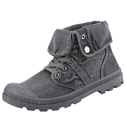 ODRD Sandalen Shoes Damen Stiefel Palladium Style Fashion High Top MilitäR Ankle Schuhe Freizeitschuhe Schuhe Strandschuhe Freizeitschuhe Turnschuhe Hausschuhe (40, Grau1)