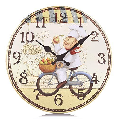 Lafocuse Reloj de Pared Vintage Cocina Madera Reloj de Cuarzo Amarillo Rustico Silencioso Decorativo un Cocinero Feliz en Bicicleta Pare Comedor 34cm